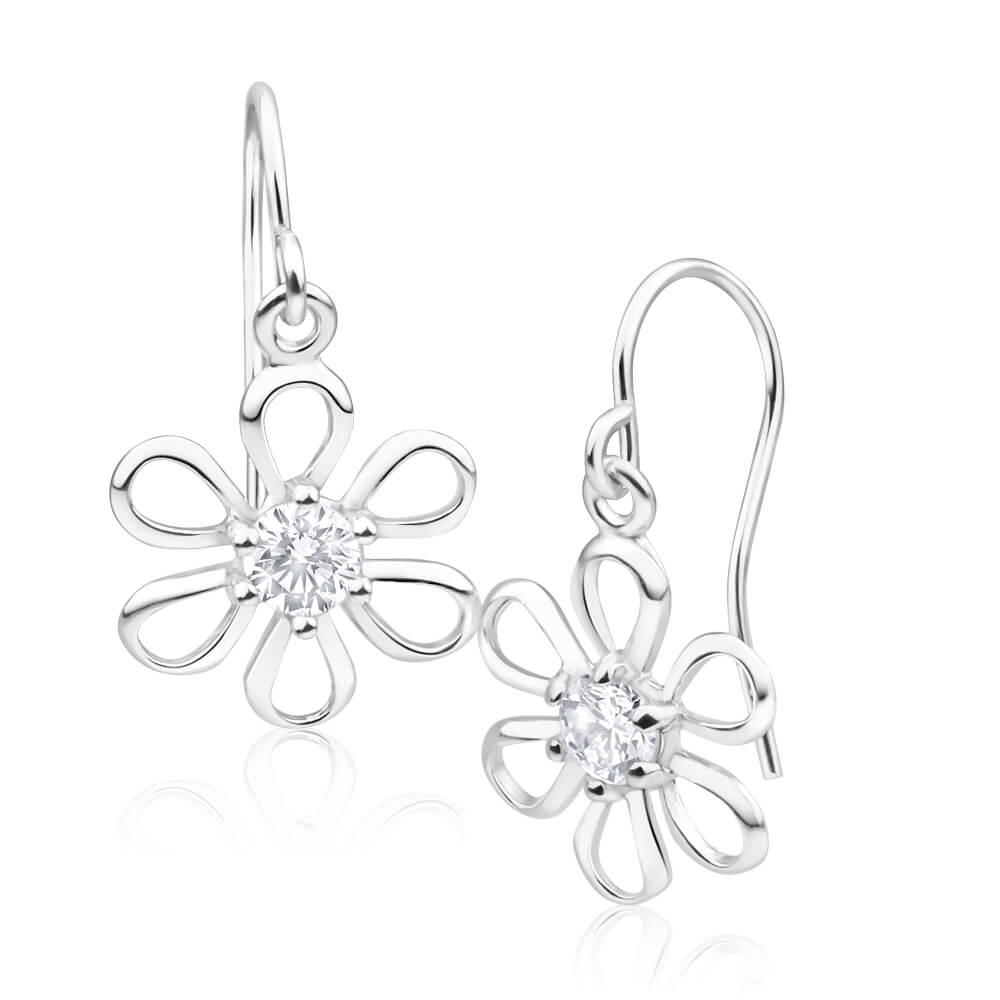 Sterling Silver Cuibic Zirconia Cut-out Flower Drop Earrings