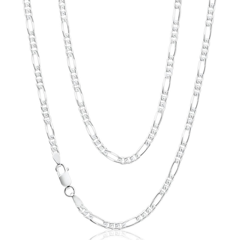 Sterling Silver 50cm Diamond Cut Figaro 1-3 Chain