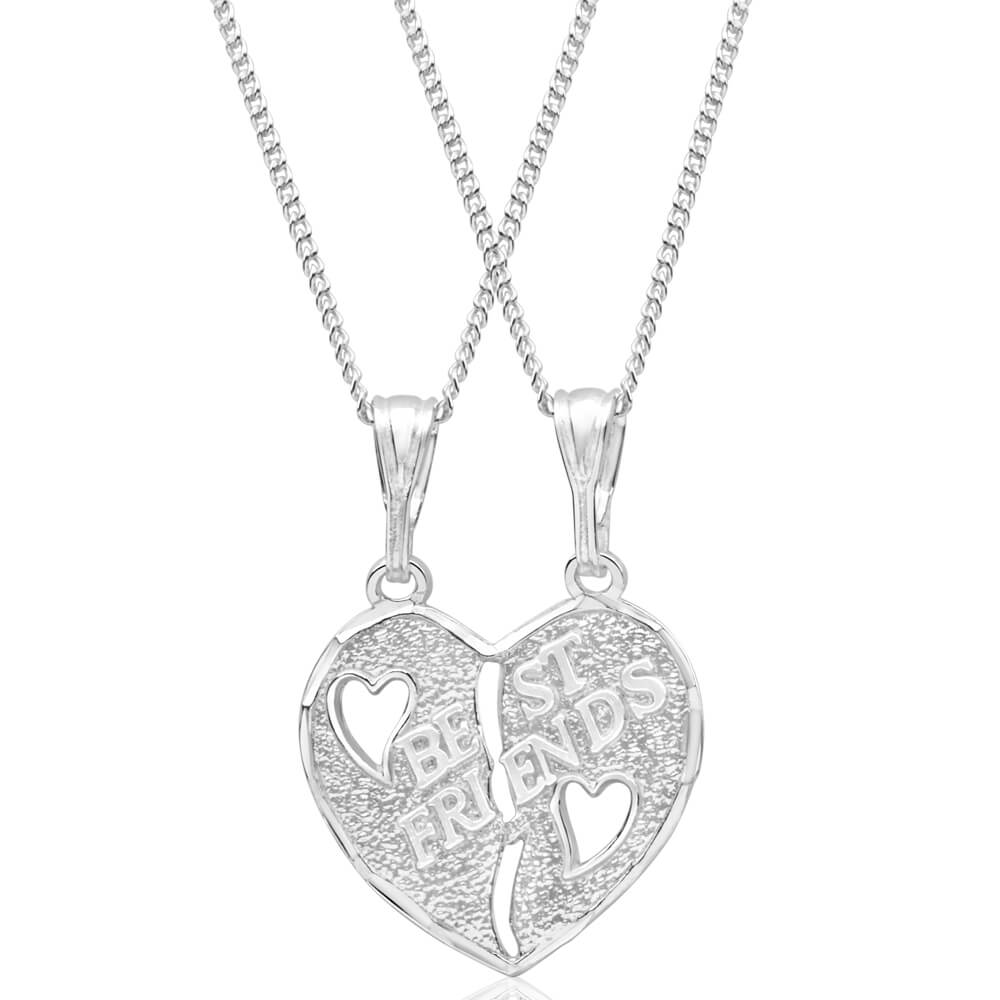Sterling Silver Best Friend Heart Break Pendant With 45cm Chain