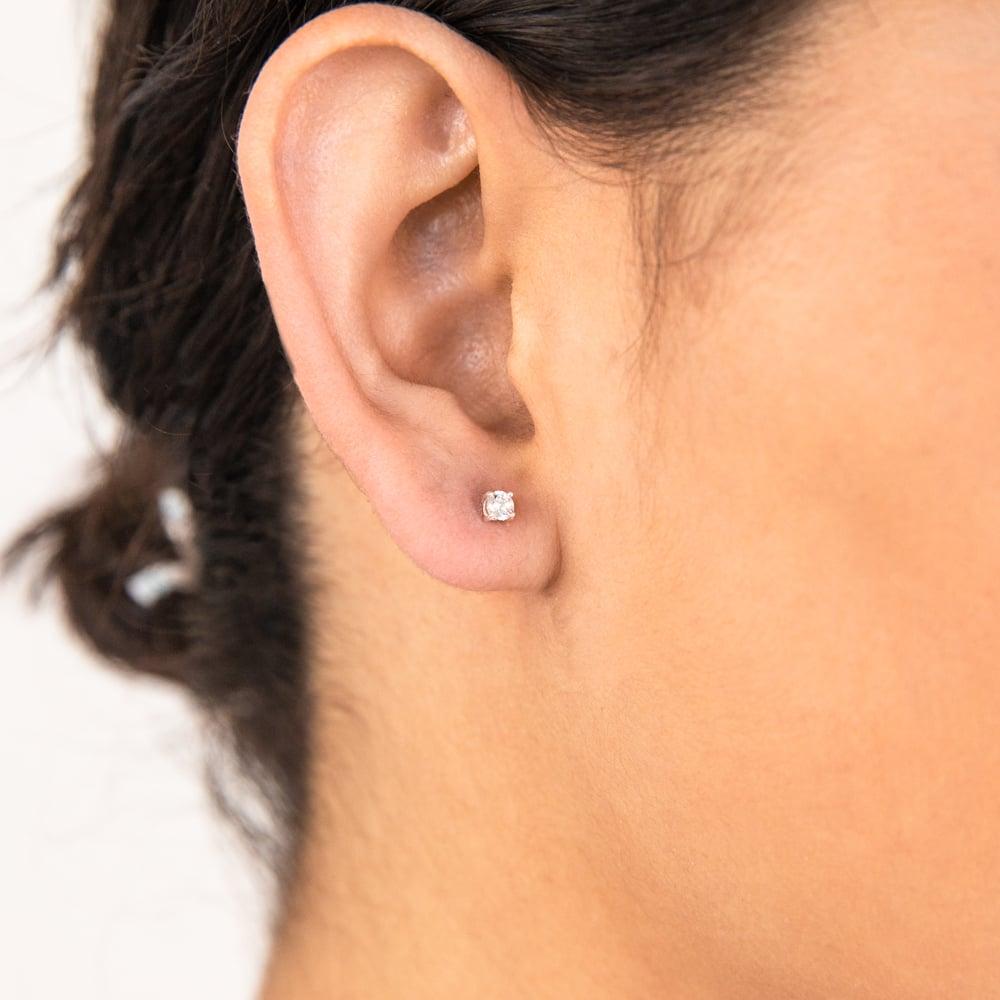 Sterling Silver Zirconia 3mm Claw Stud Earrings