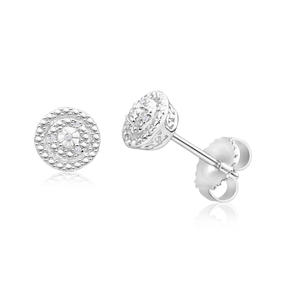 Sterling Silver Diamond Claw Setting Stud Earrings