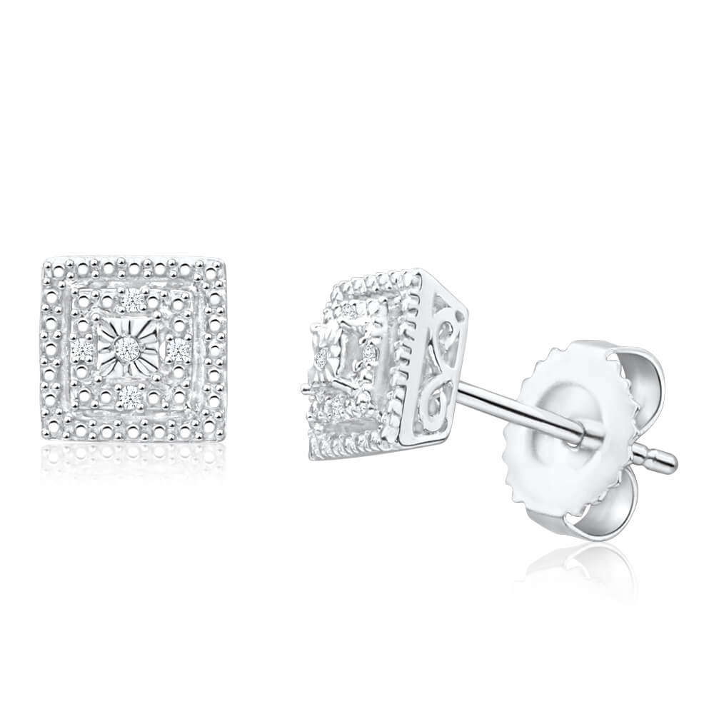 Sterling Silver Brilliant Cut Diamond Stud Earrings