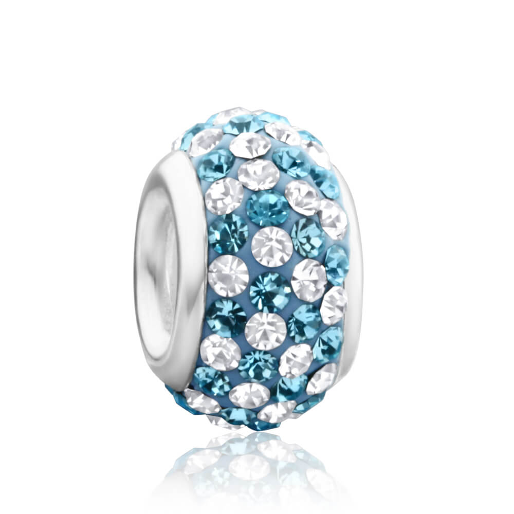 Amadora Sterling Silver Blue & White Crystal Charm
