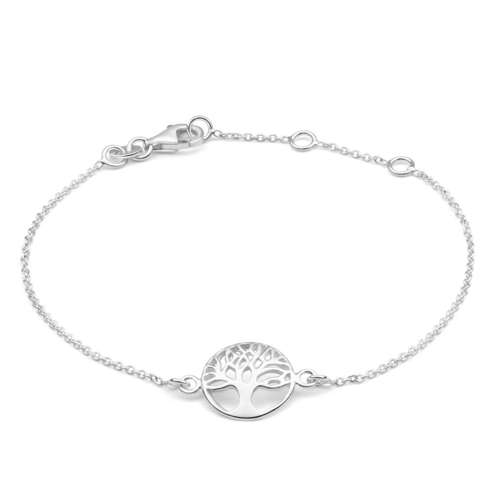 Sterling Silver 19cm Tree Of Life Round Trace Bracelet