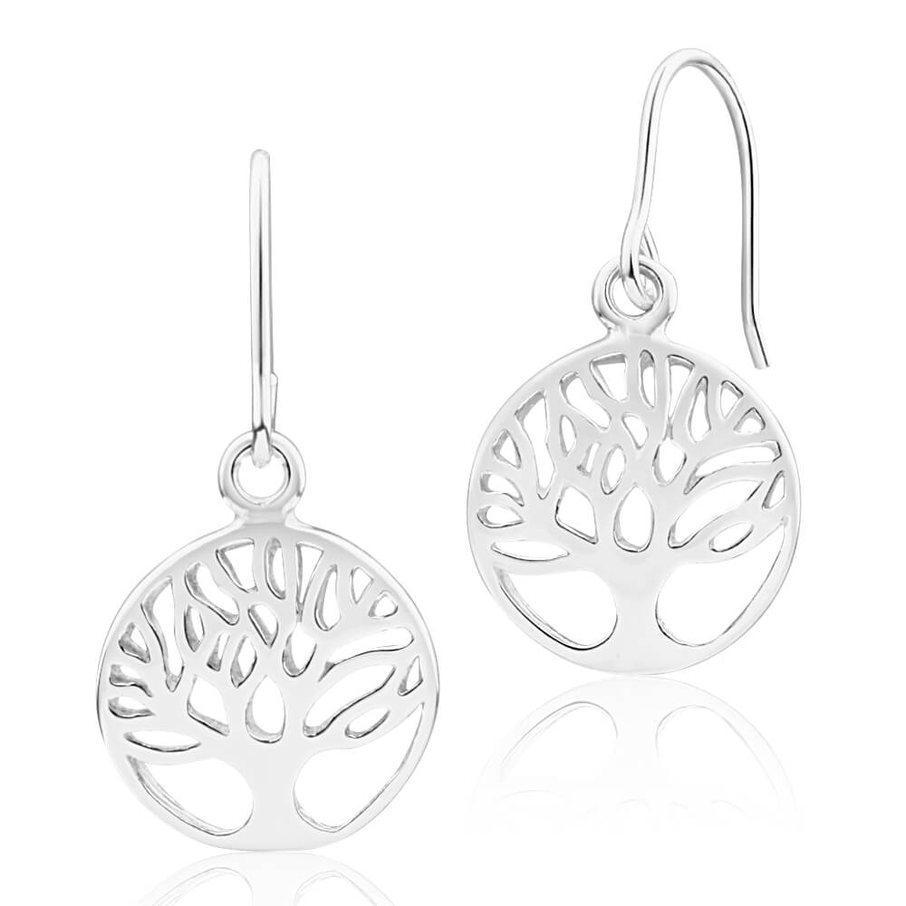 Sterling Silver Tree of Life Round Drop Earrings