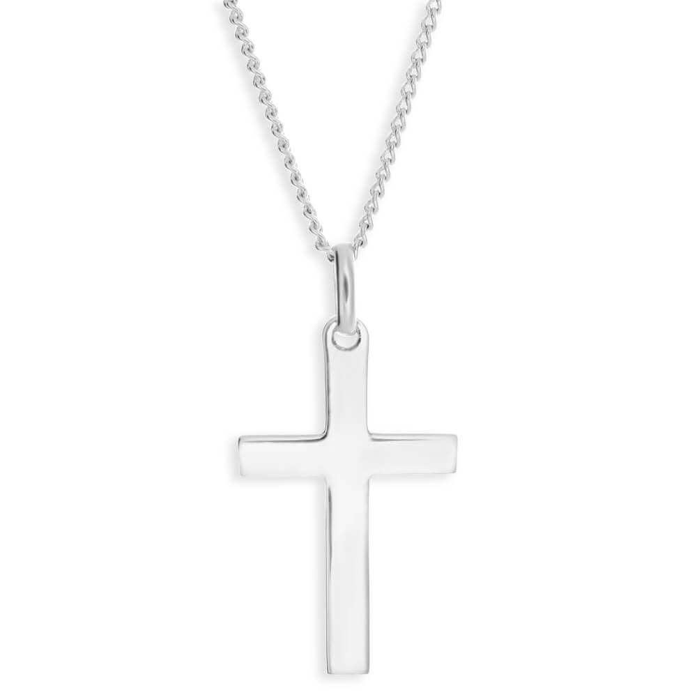 Sterling Silver Plain Cross Religious Pendant
