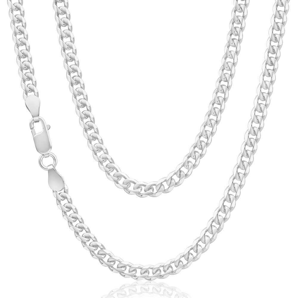 Sterling Silver 120 Gauge Diamond Cut 50cm Curb Chain