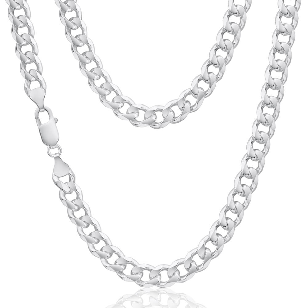 Sterling Silver Dicut Curb Link 220 Gauge Chain 55cm