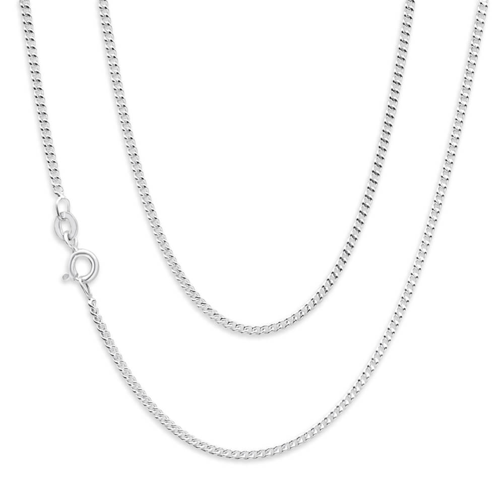 Sterling Silver Unisex Curb 50 Gauge 45cm Chain
