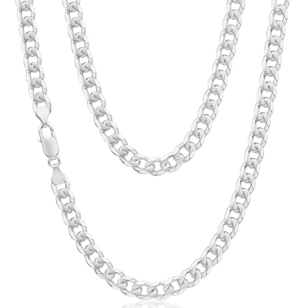 Sterling Silver Dicut Bevelled 220 Gauge 60cm Curb Chain