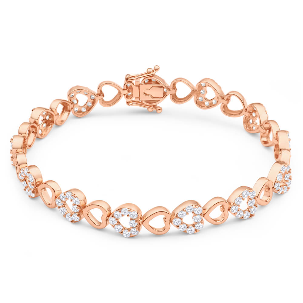 Gold Plated Sterling Silver Cubic Zirconia 19cm Bracelet