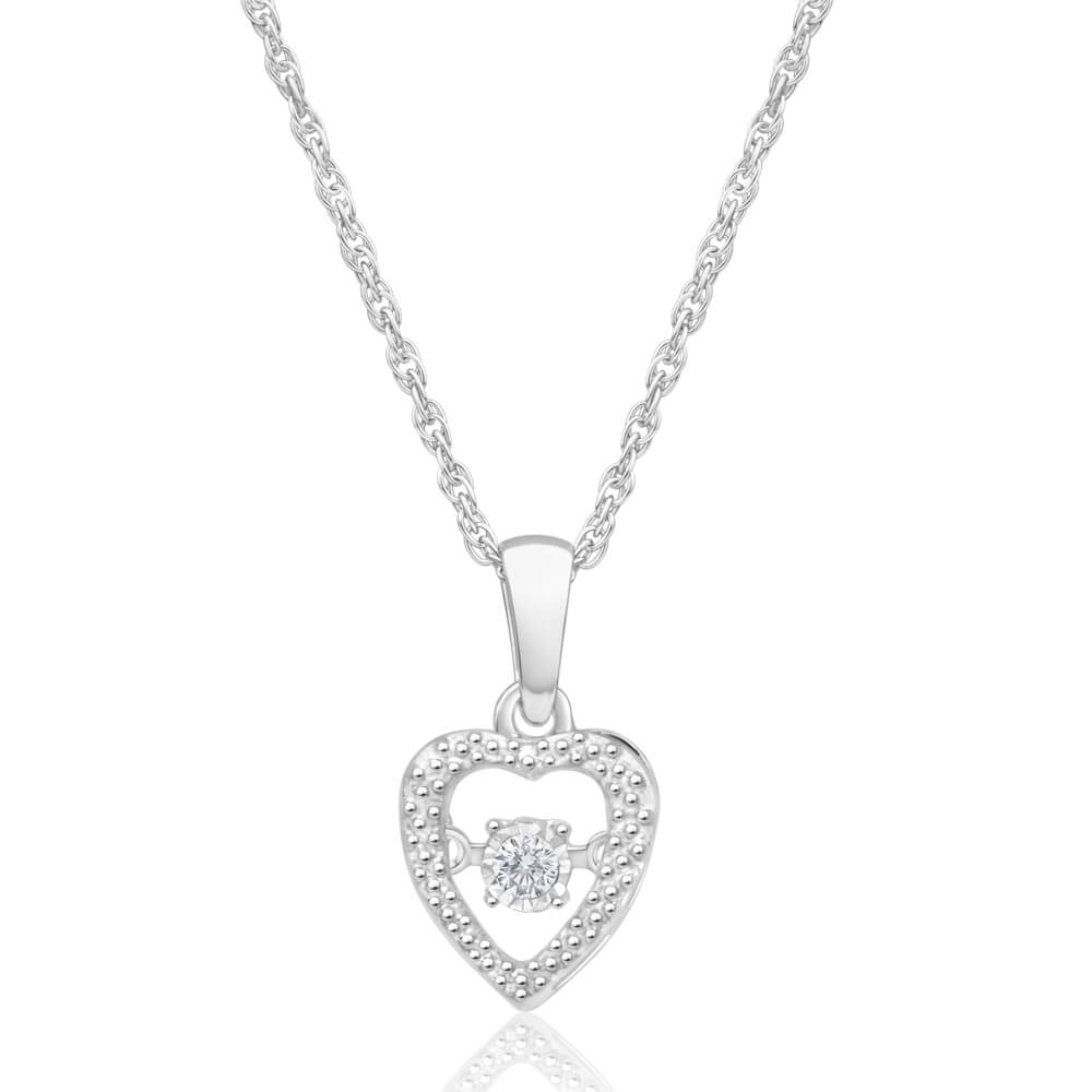 Sterling Silver Glittering Diamond Pendant with 45cm Rope Chain