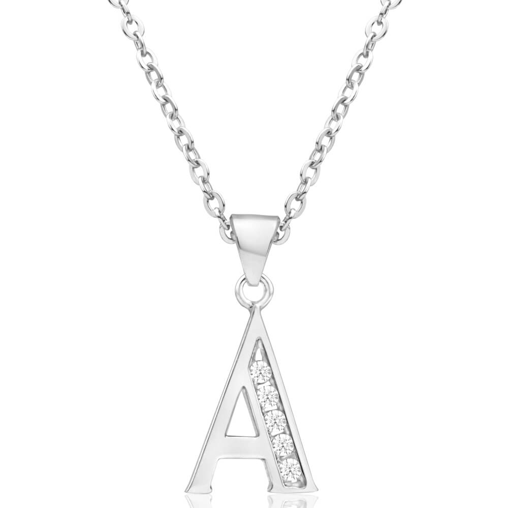 """Sterling Silver Cubic Zirconia Initial """"A"""" Pendant"""