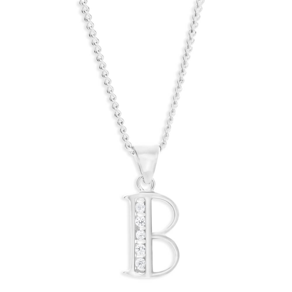 """Sterling Silver Cubic Zirconia Initial """"B"""" Pendant"""