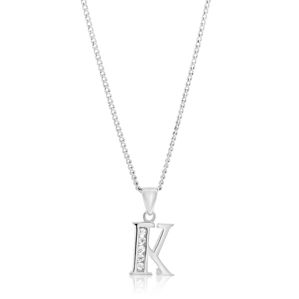 """Sterling Silver Cubic Zirconia  Initial """"K"""" Pendant"""