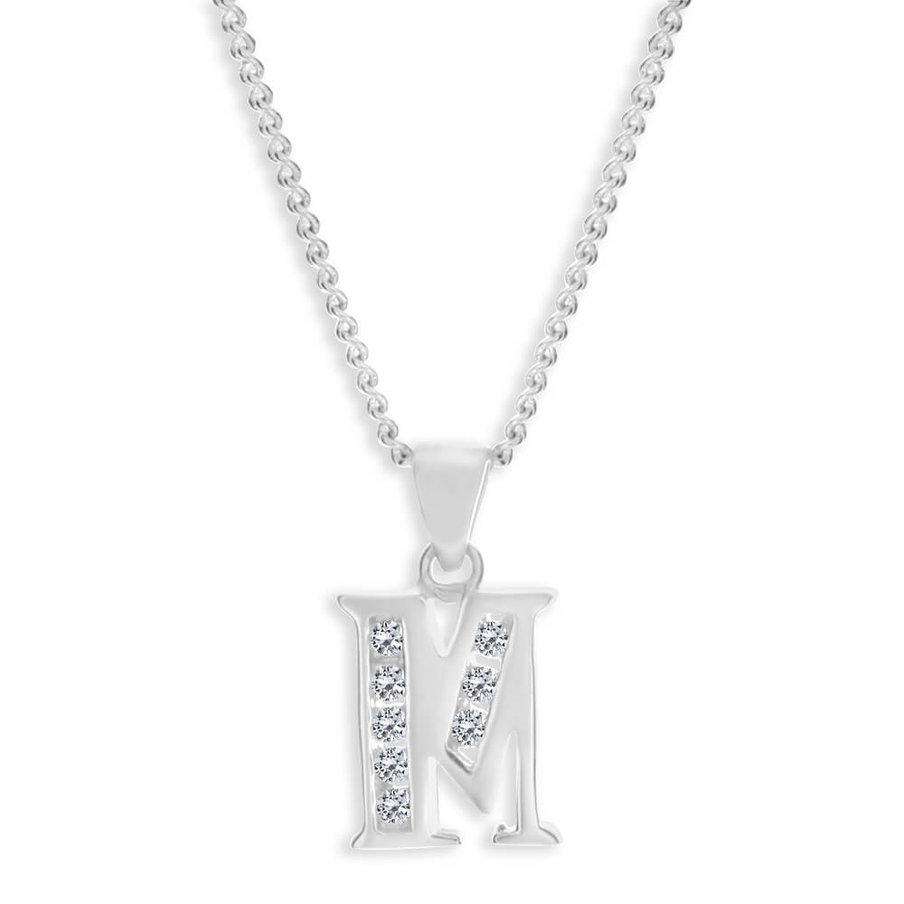 """Sterling Silver Cubic Zirconia  Initial """"M"""" Pendant"""
