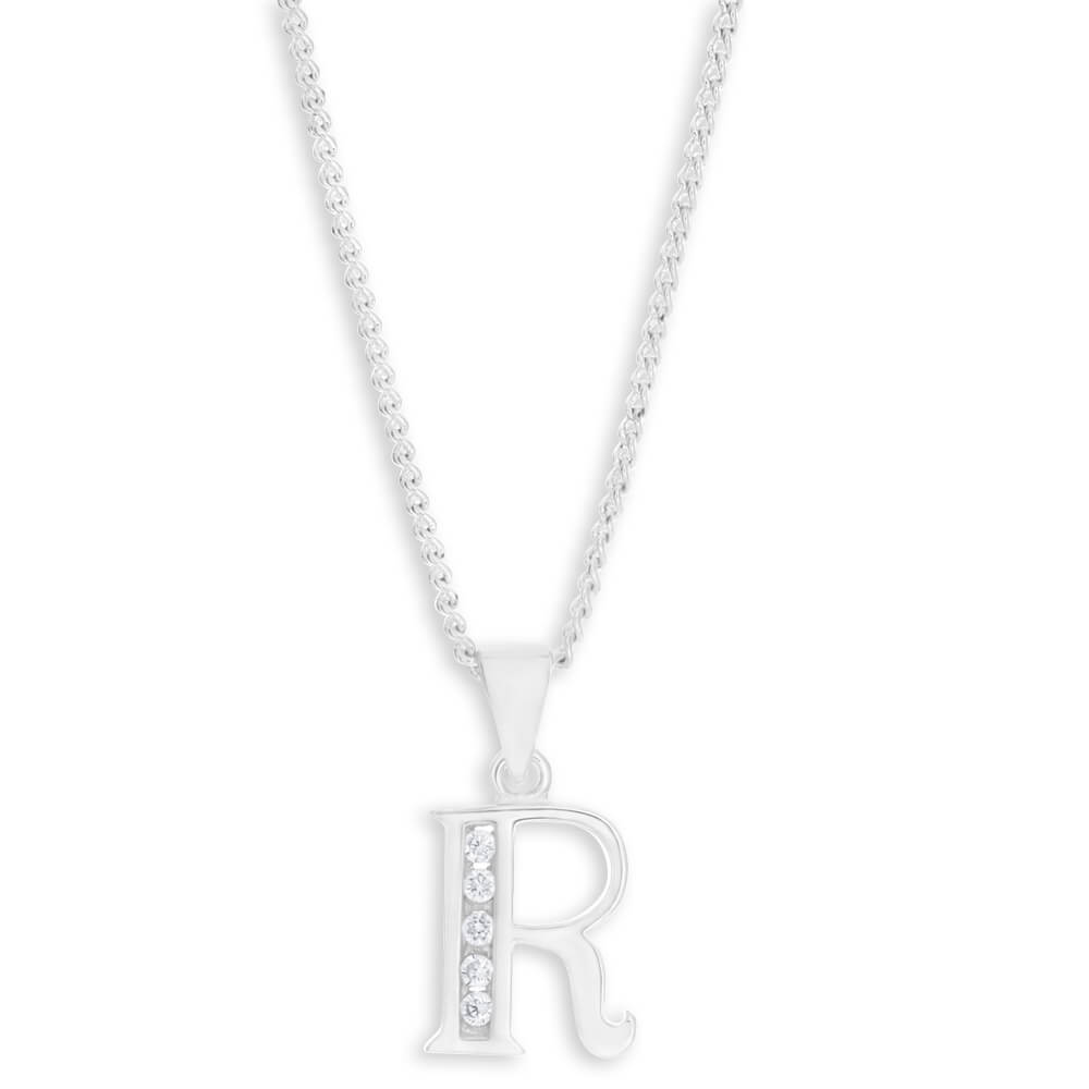 """Sterling Silver Cubic Zirconia  Initial """"R"""" Pendant"""