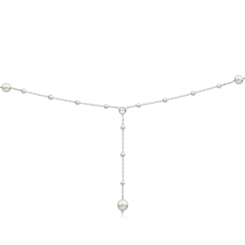 Sterling Silver Ball Link Simulated Pearl + Zirconia Y Chain