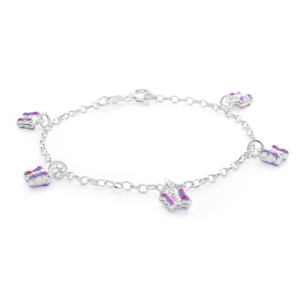 Sterling Silver Butterfly Charm 16cm Bracelet