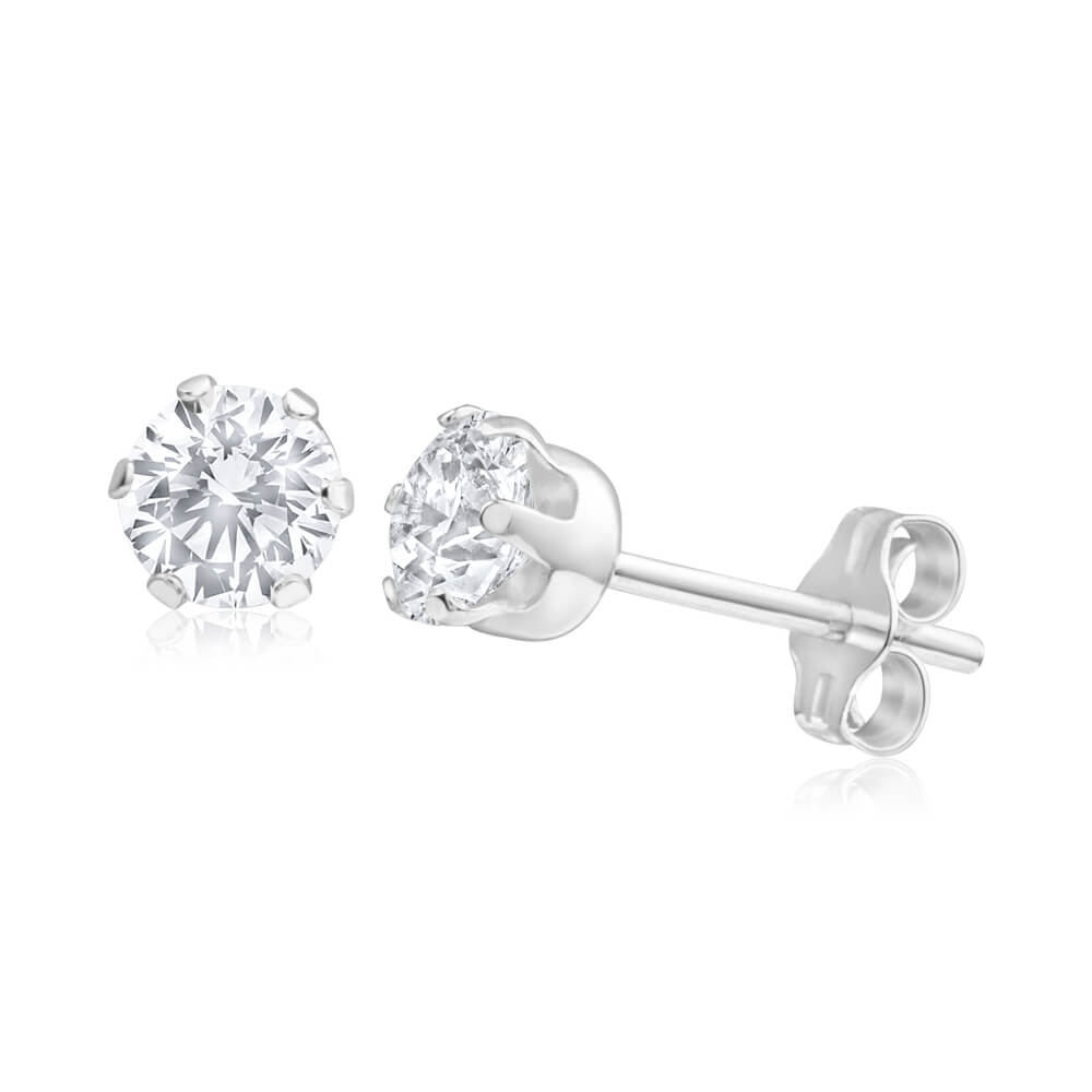 Sterling Silver Cubic Zirconia White 5mm Claw Stud Earrings