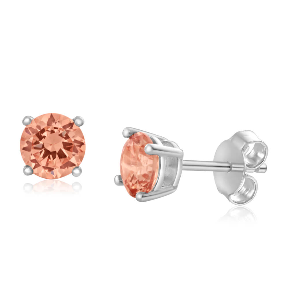 Sterling Silver Zirconia Round 6.55mm Champagne Stud Earrings