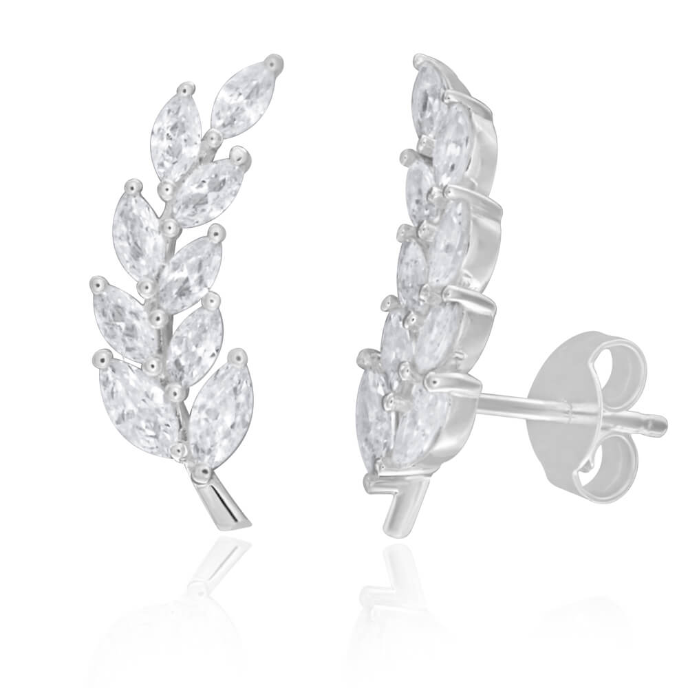 Sterling Silver Cubic Zirconia Fancy Leaf Ear Curve Stud Earrings