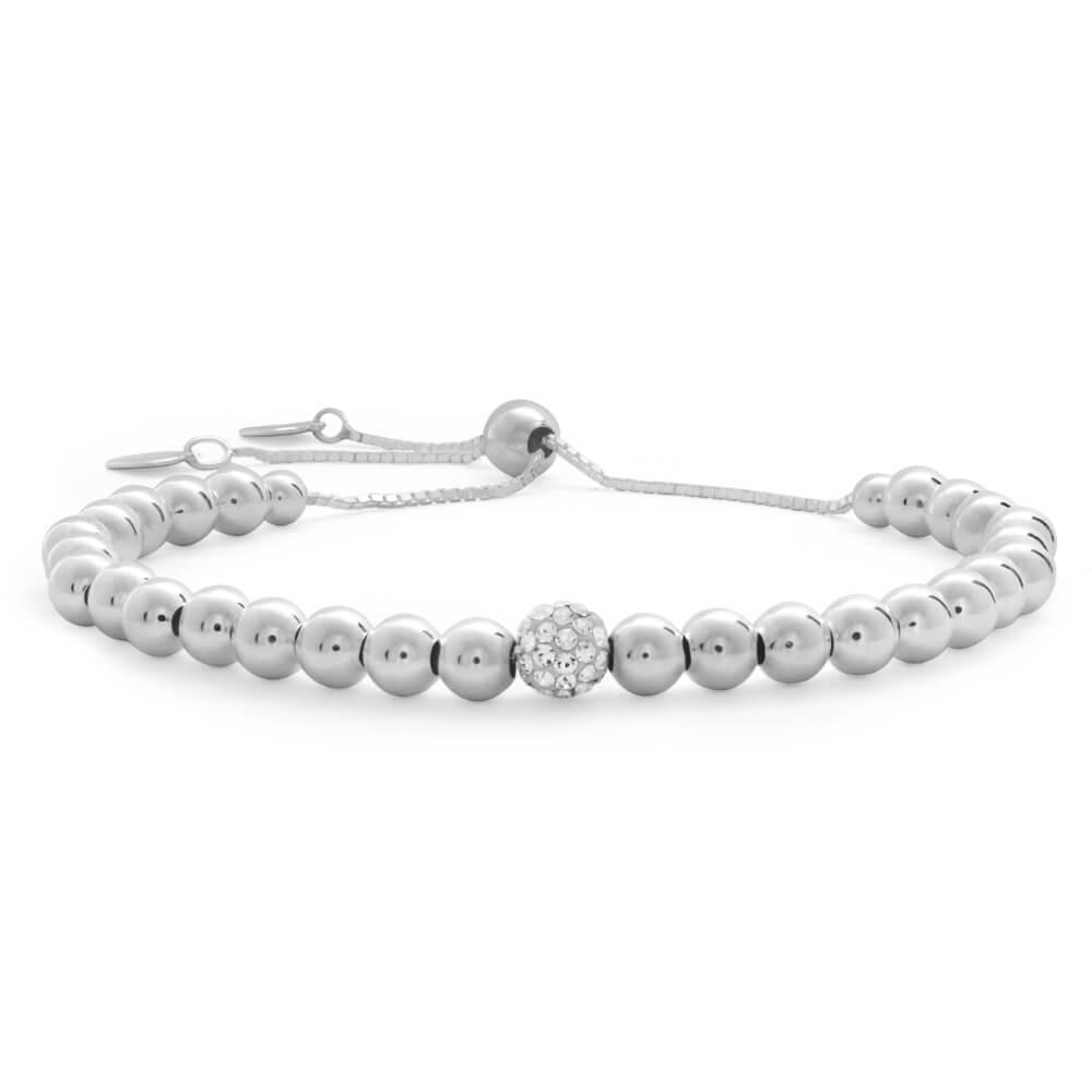 Sterling Silver Crystal and Fancy Ball 22cm Adjustable Bracelet