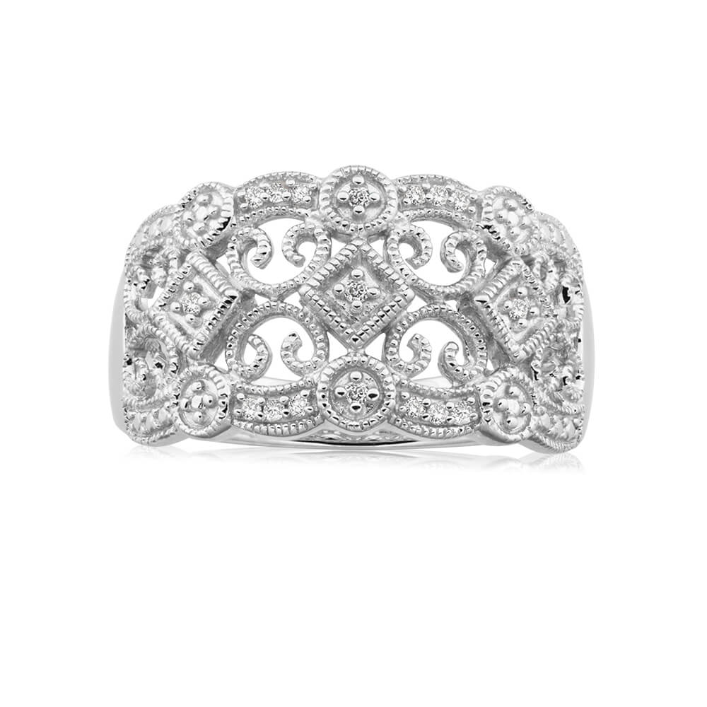 Sterling Silver Angelic Diamond Ring