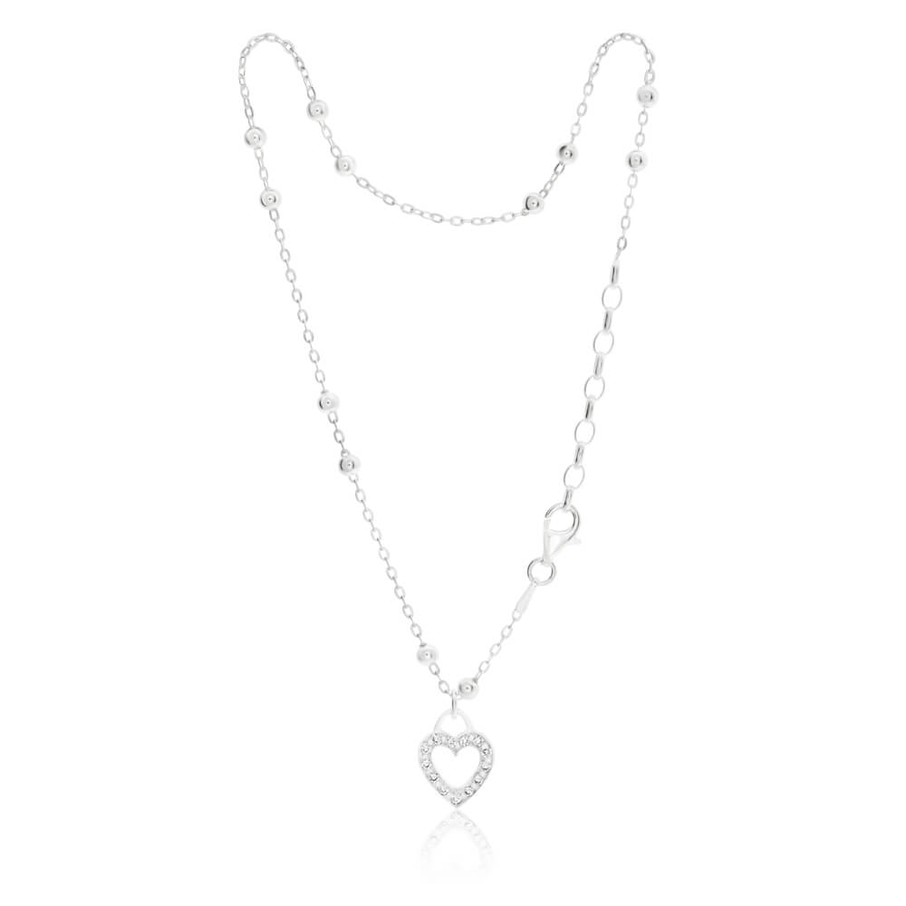 Sterling Silver Cubic Zirconia Heart 26cm Anklet