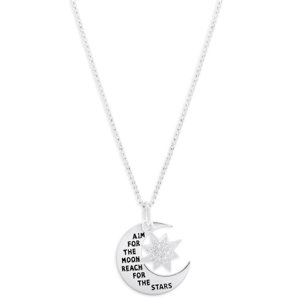 Sterling Silver Cubic Zirconia Moon & Star Pendant