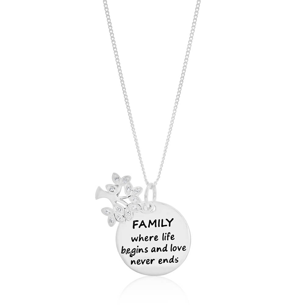 Sterling Silver Cubic Zirconia Tree Of Life & Round Disc Pendant