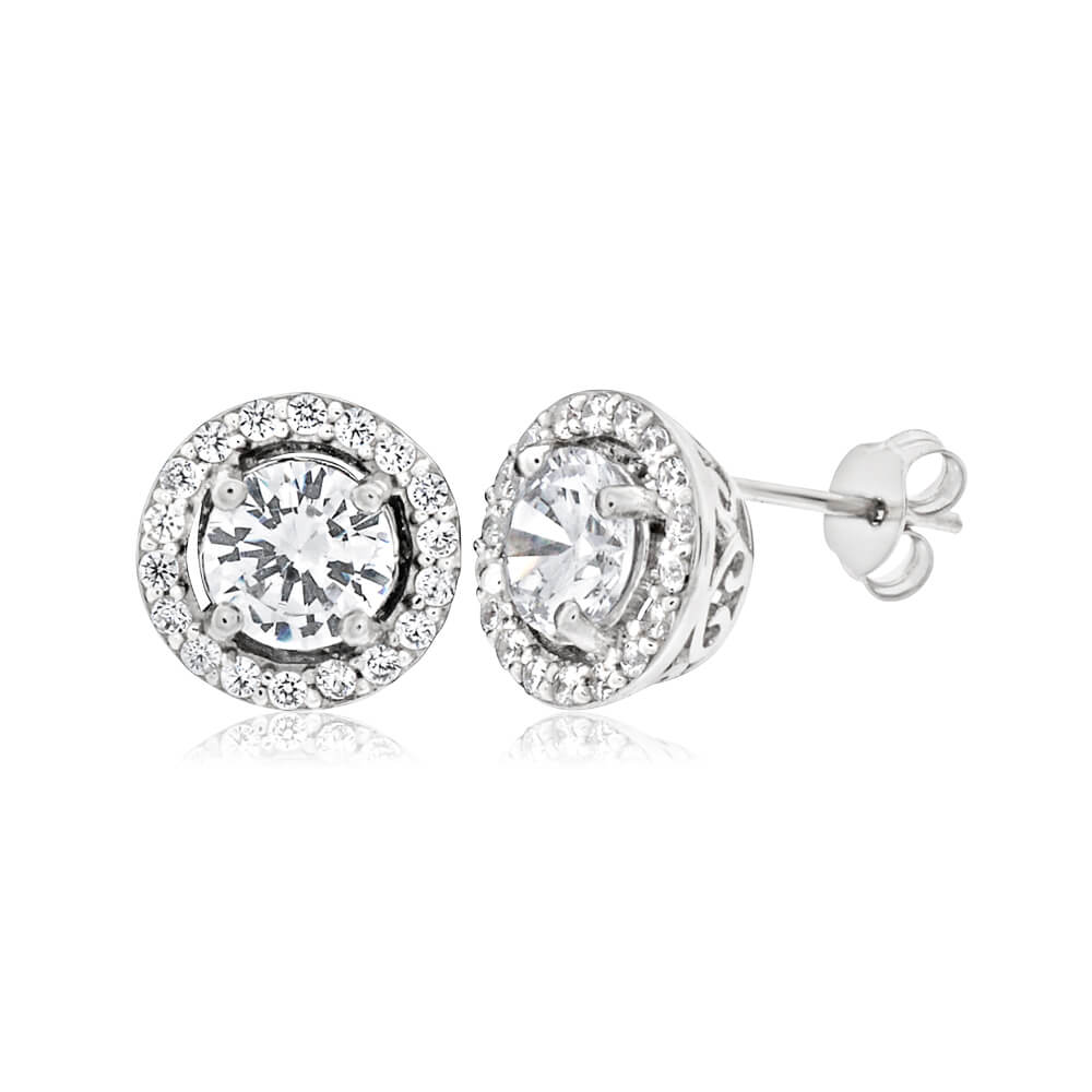 Sterling Silver Rhodium Plated Cubic Zirconia Round Stud Earrings