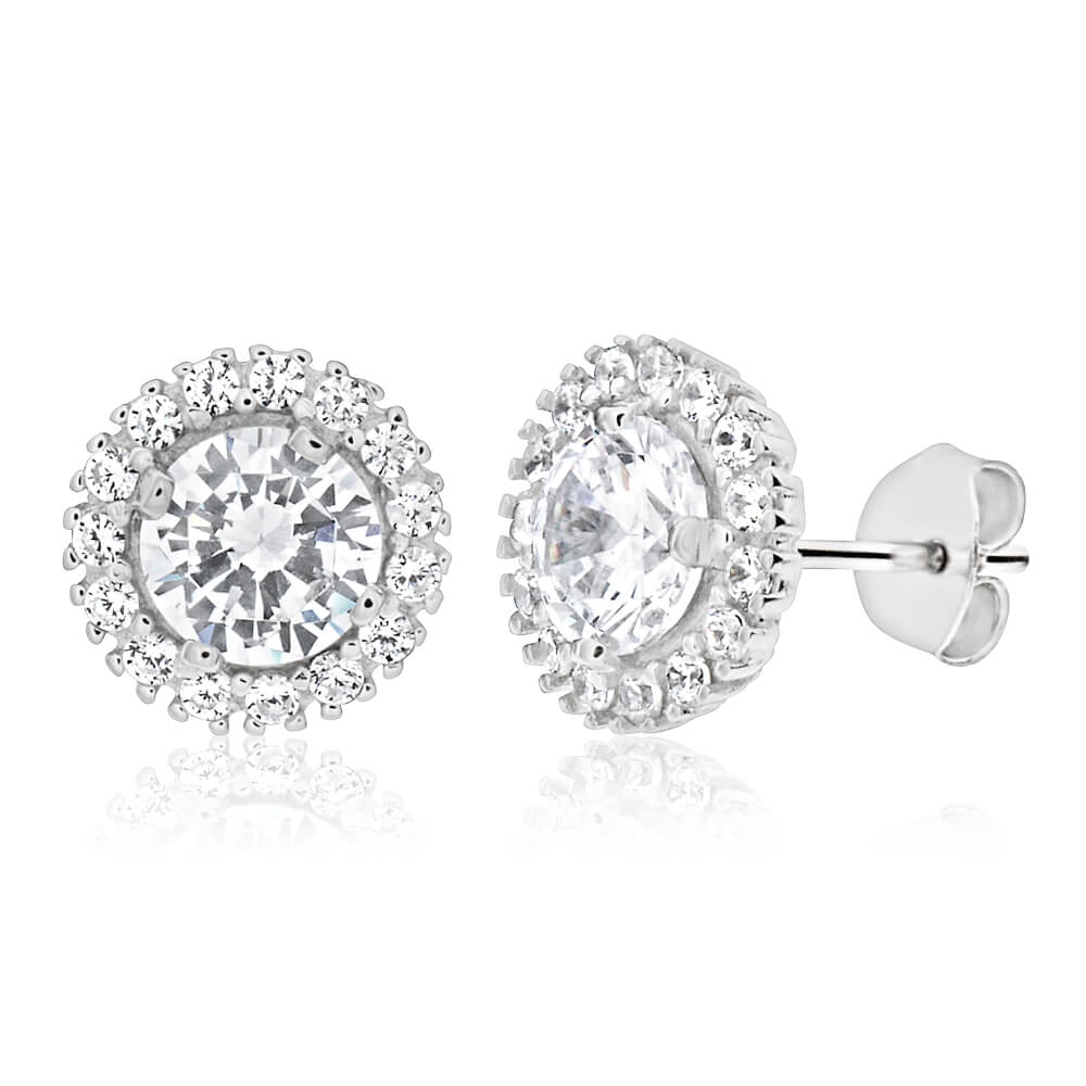 Sterling Silver Rhodium Plated Cubic Zirconia Round Halo Stud Earrings