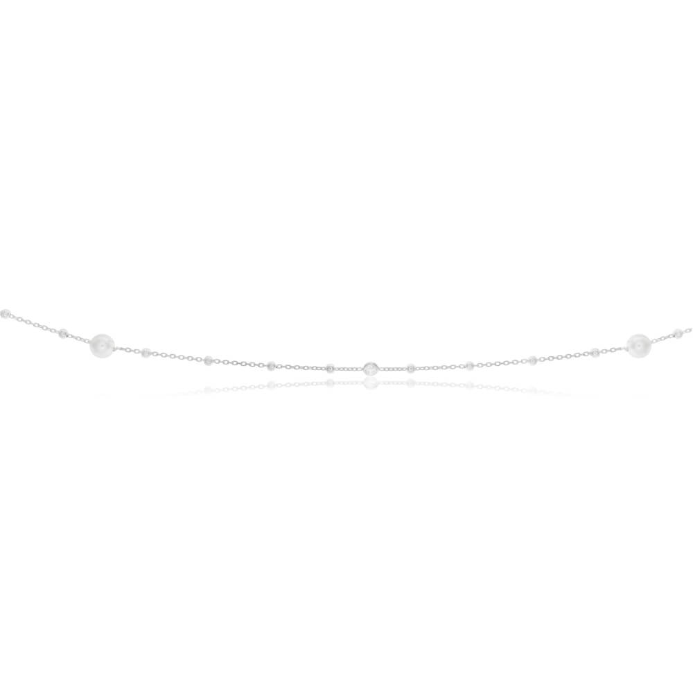 Sterling Silver Simulated Pearl, Bead and Zirconia Long Chain 80cm