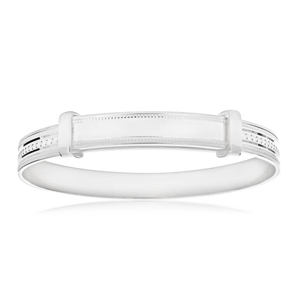 Sterling Silver Milgrain ID Plate Expandable Baby Bangle