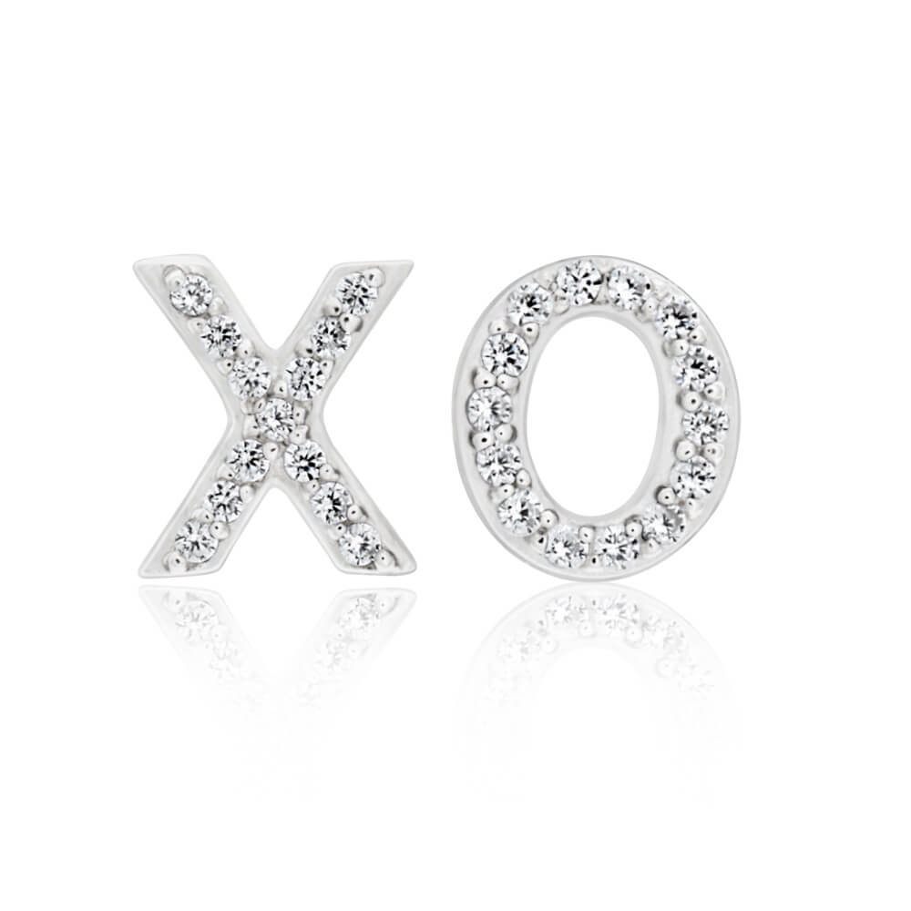Sterling Silver Rhodium Plated Cubic Zirconia XO Stud Earrings