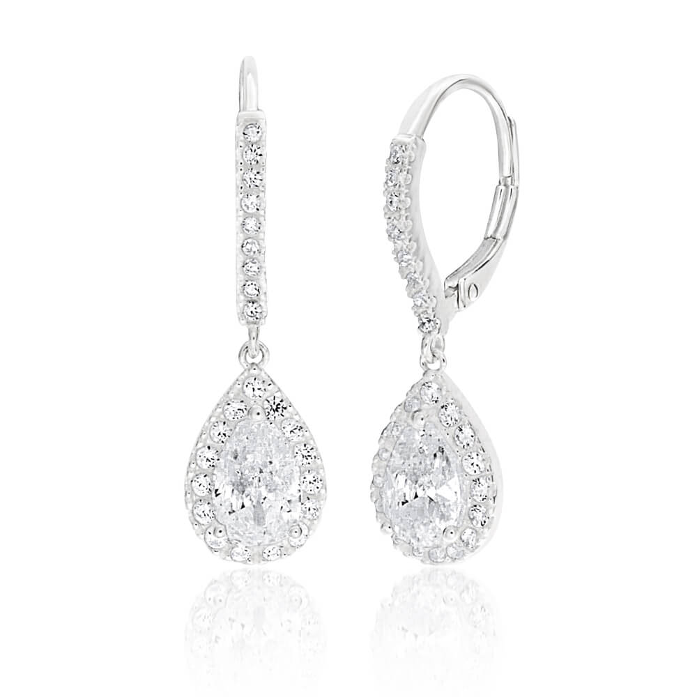 Sterling Silver Cubic Zirconia Pear Shaped Drop Earrings