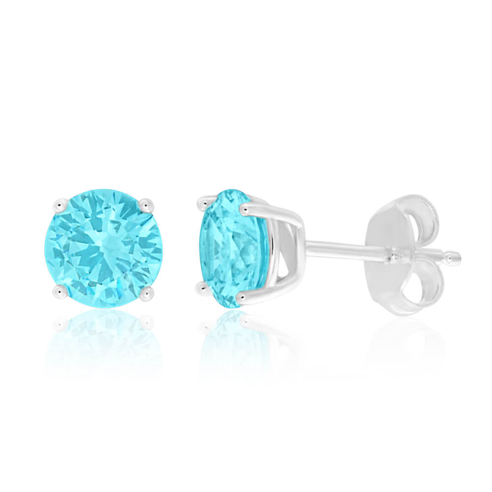 Sterling Silver Cubic Zirconia Light Aqua Stud Earrings