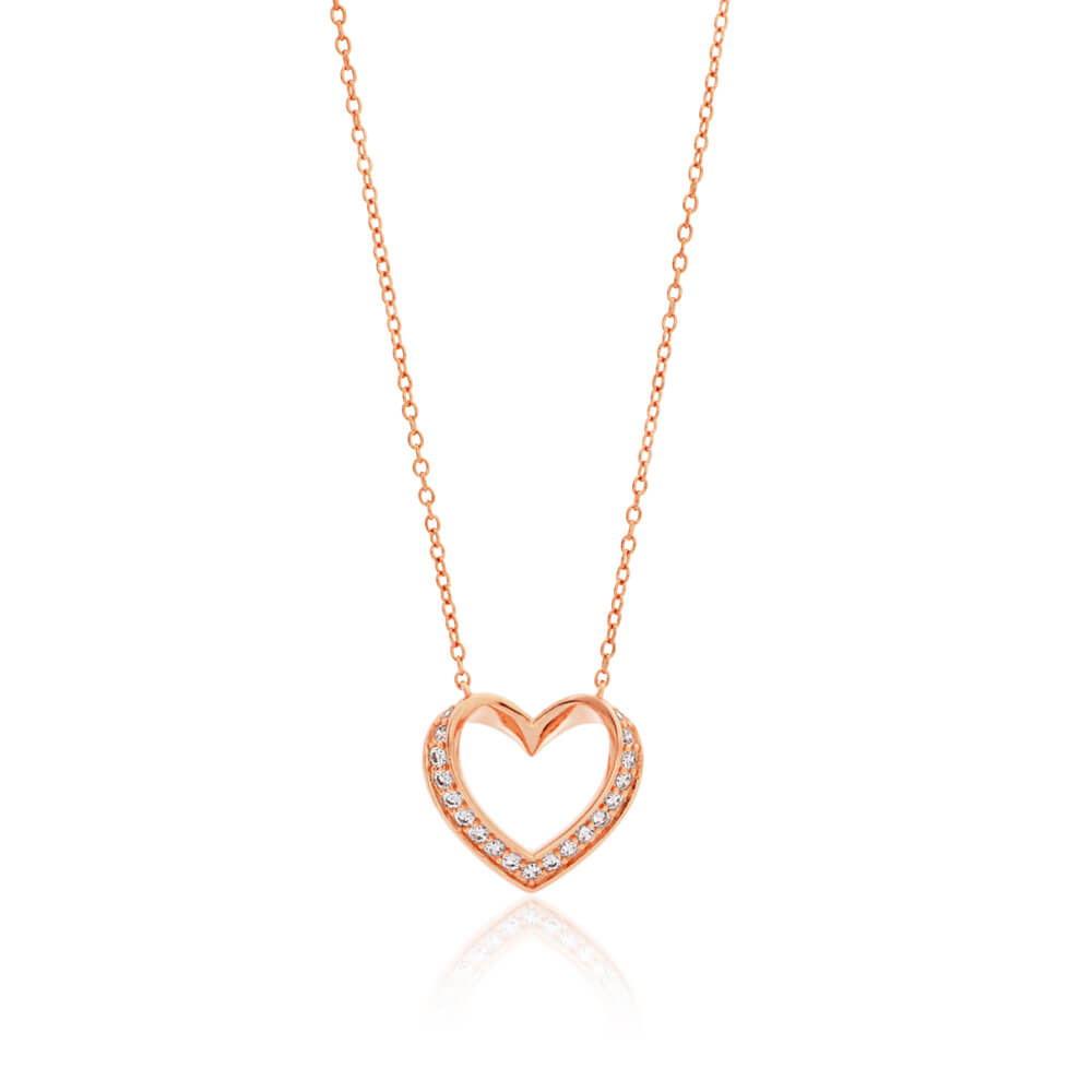 Sterling Silver Rose Gold Plated Cubic Zirconia Open Heart Pendant With 45cm Chain