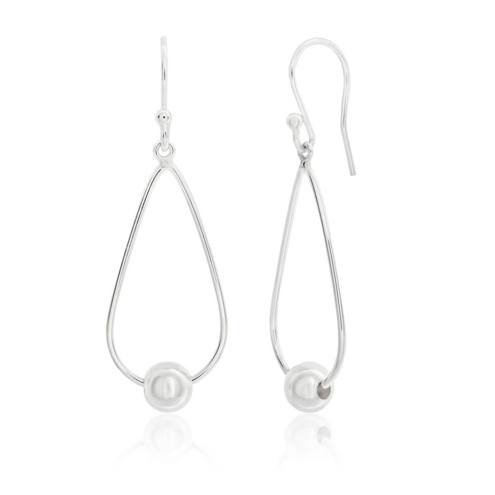 Sterling Silver Teardrop Bead Ball Drop Earrings