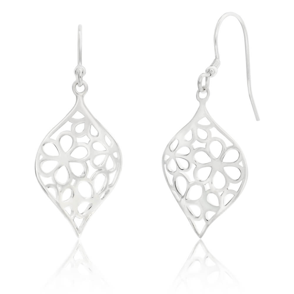 Sterling Silver Flower Cut Out Patterned Drop Earrings