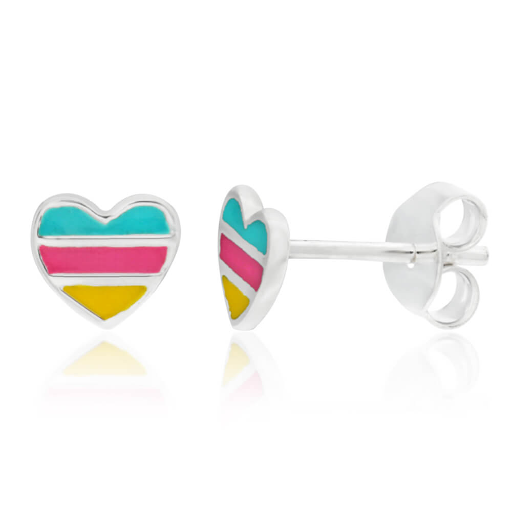 Sterling Silver Multi Colour Enamel Heart Stud Earrings