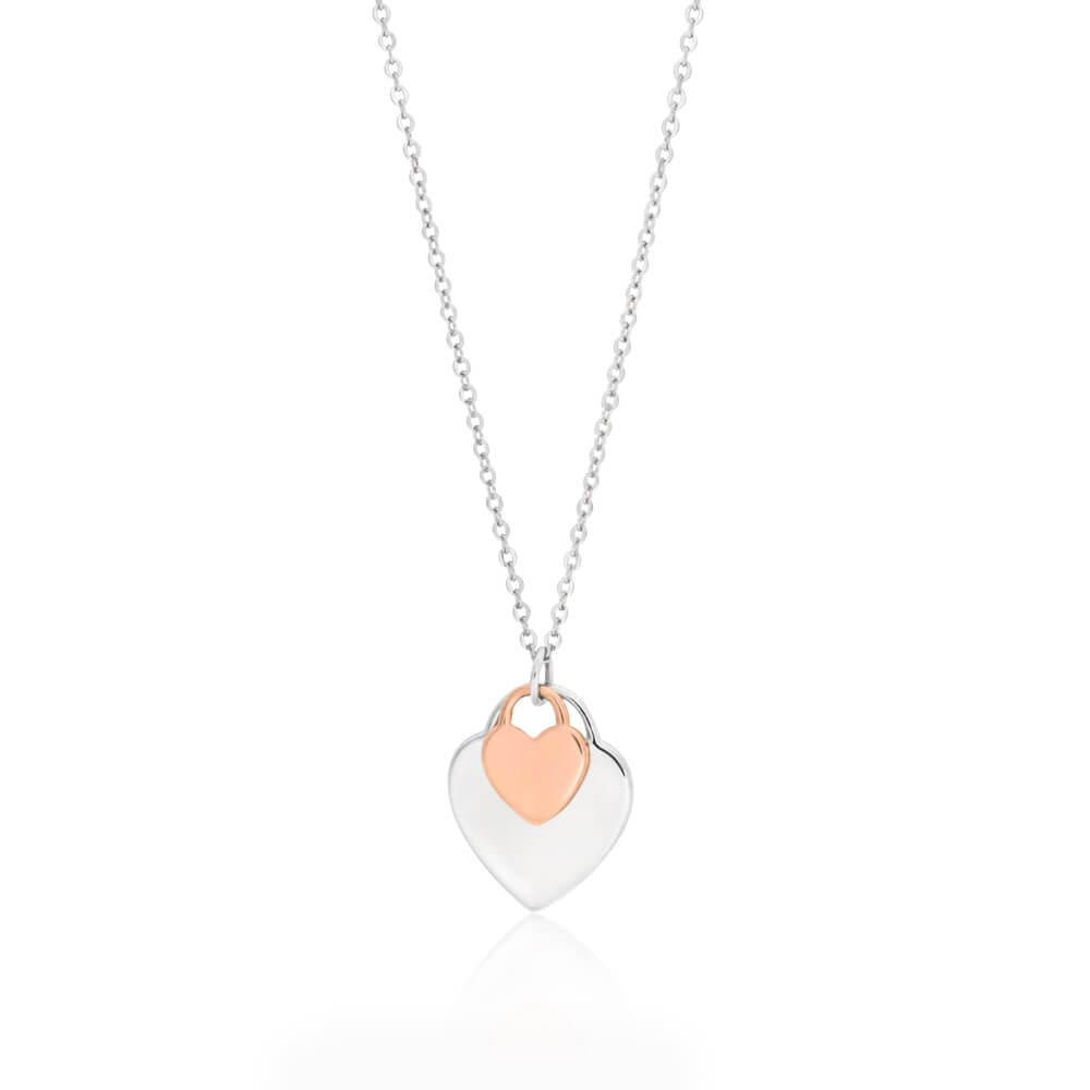 Sterling Silver Rhodium and Rose Gold Plated Double Heart Pendant With Chain
