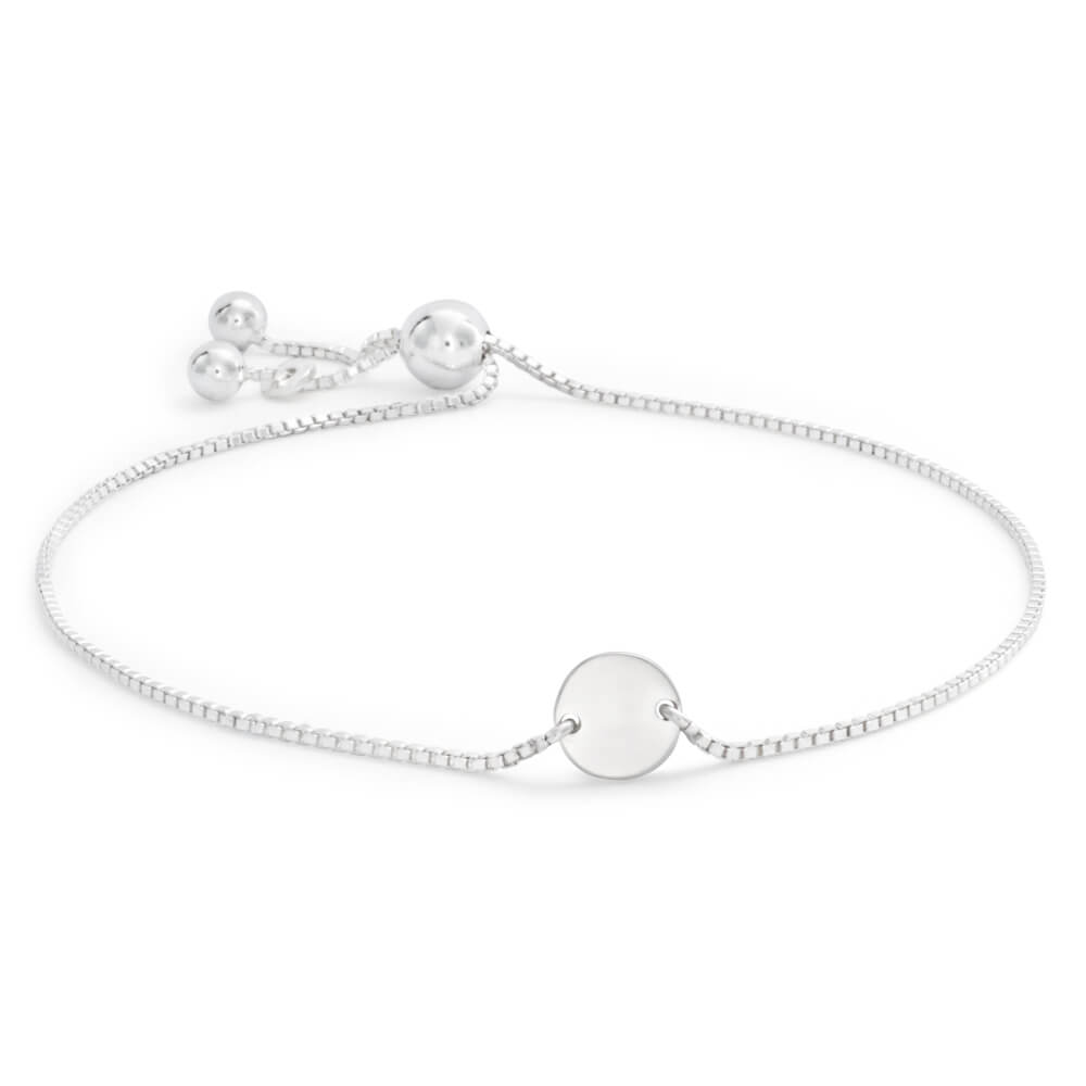 Sterling Silver Plain Disc Adjustable Friendship Bracelet