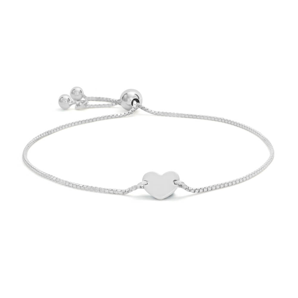 Sterling Silver Heart Disc Adjustable Friendship Bracelet