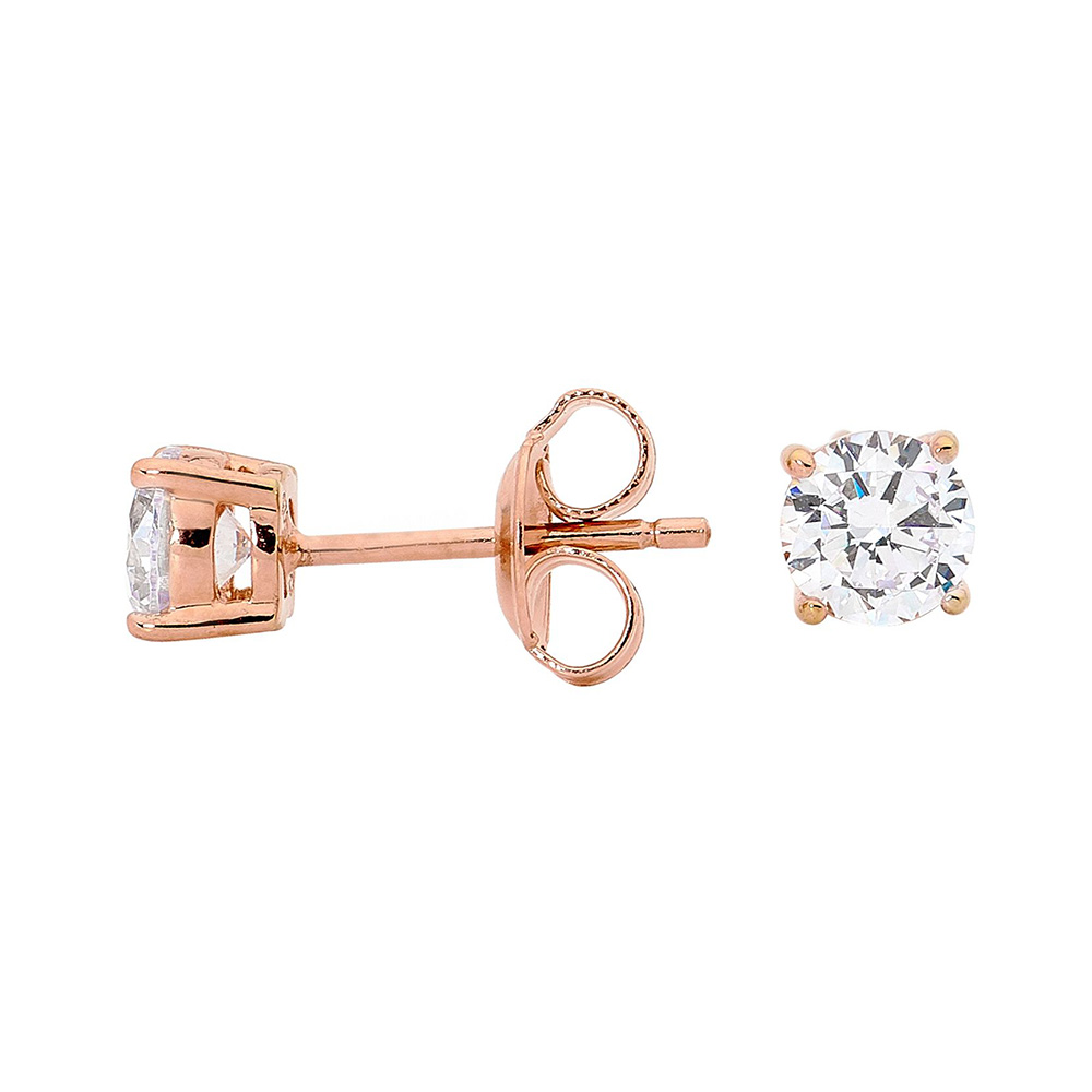 Georgini 5mm Zirconia Rose Gold Plated Sterling Silver Stud Earrings