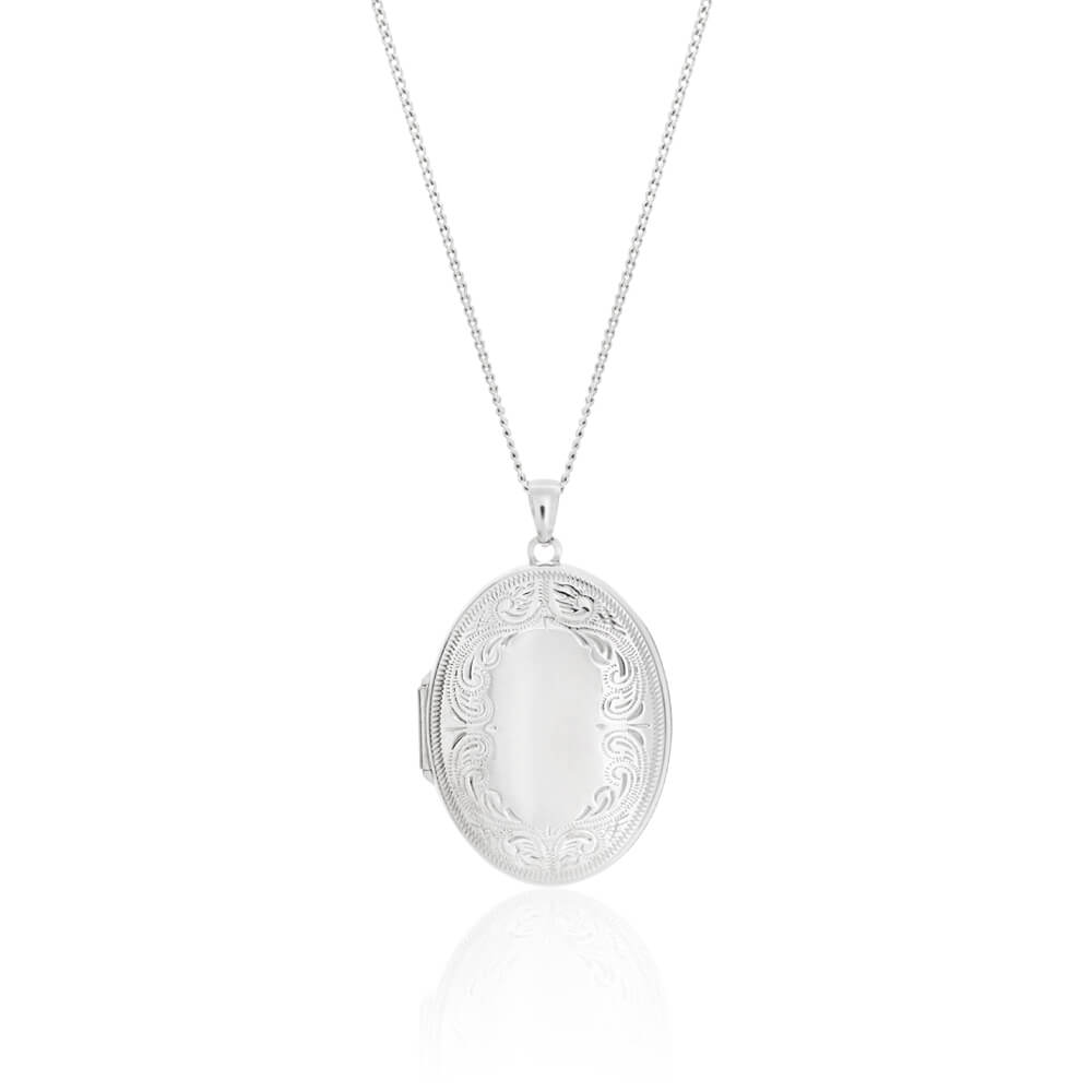 Sterling Silver Oval Engraved Locket