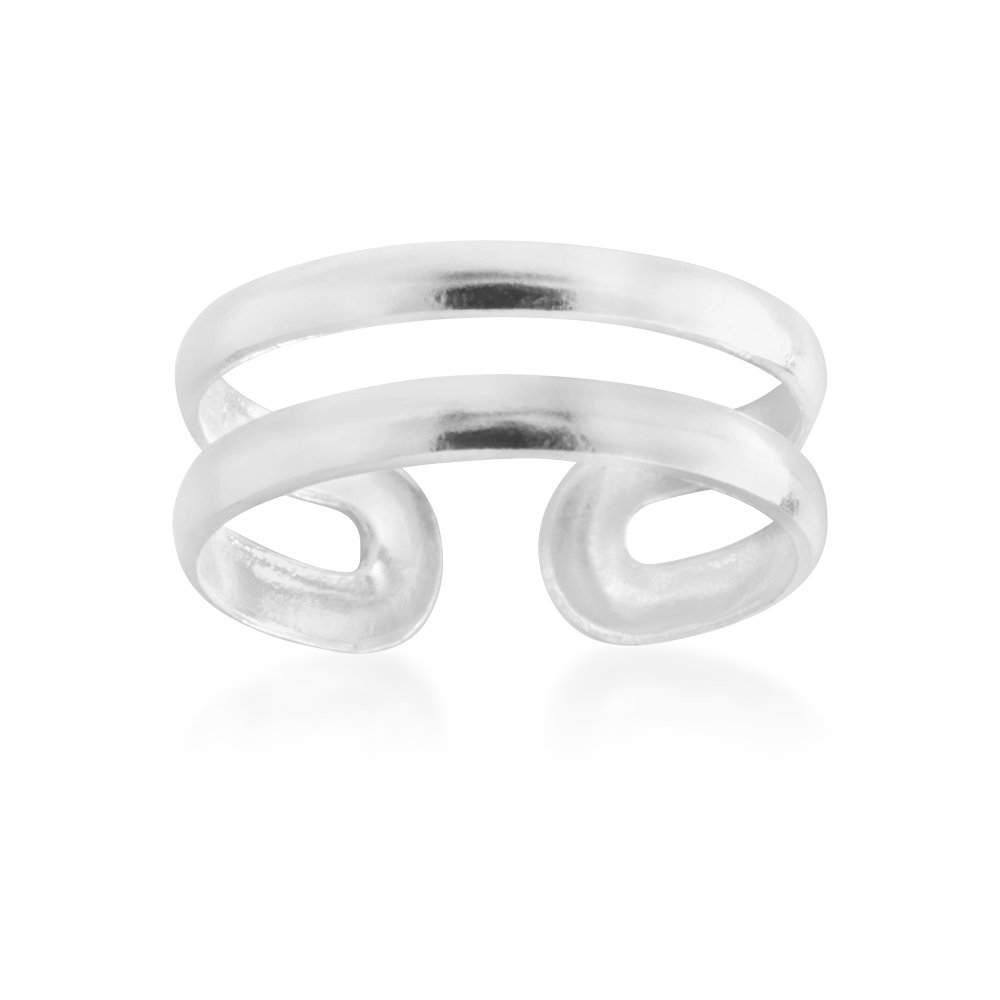 *No Exchange* Sterling Silver Double Band Torque Toe Ring