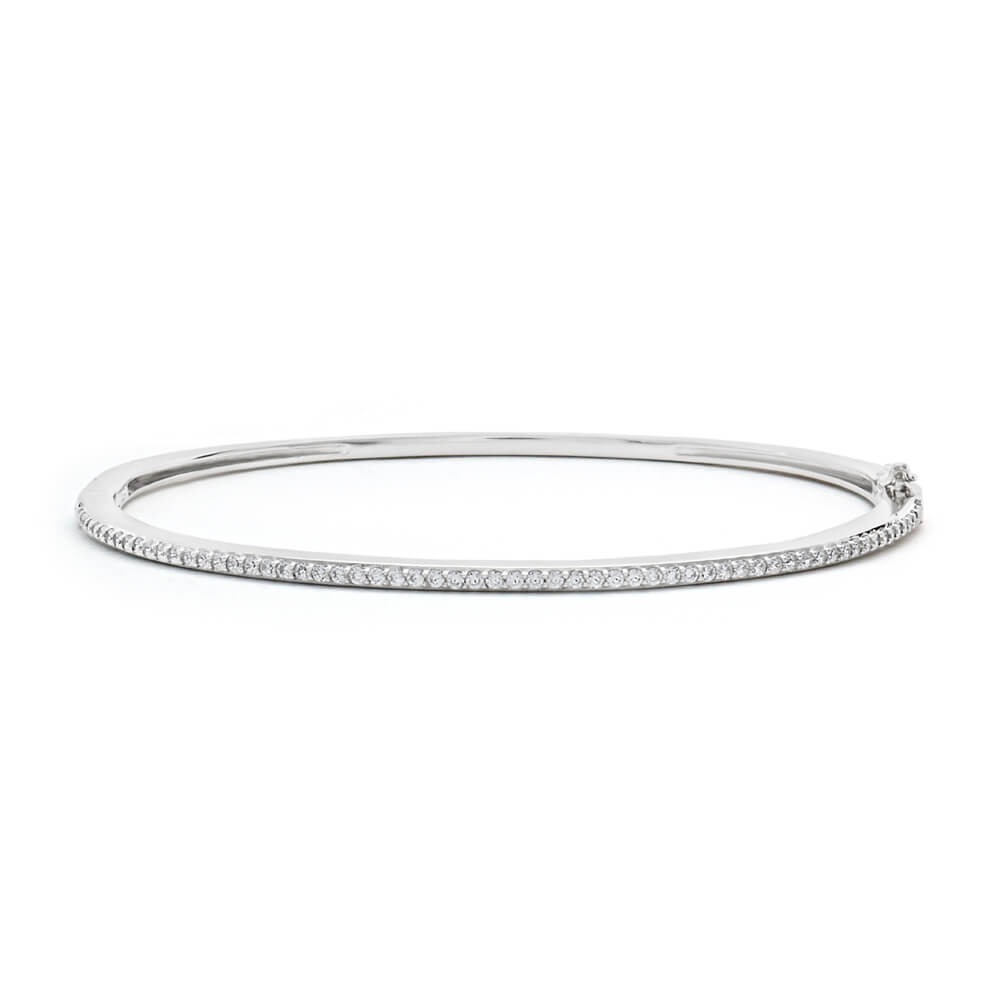 Sterling Silver Cubic Zirconia Oval Bangle