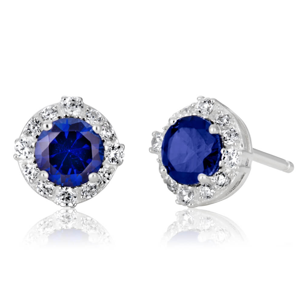 Sterling Silver Created Sapphire + Cubic Zirconia Halo Earrings
